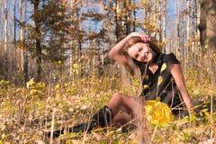 Mujer joven hermosa en bosque de la caída Imagen de archivo libre de regalías