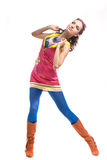 Mujer joven hermosa en desgaste del color Imagen de archivo libre de regalías