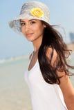 Mujer joven hermosa en Miami Beach Imagen de archivo