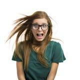 Mujer joven hermosa en pánico Fotografía de archivo libre de regalías
