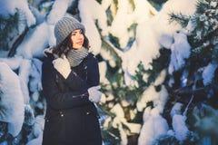Mujer joven hermosa en parque en día de invierno que nieva Imagen de archivo libre de regalías