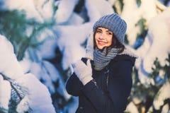 Mujer joven hermosa en parque en día de invierno que nieva Imagen de archivo