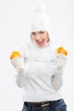 Mujer joven hermosa en ropa del invierno Foto de archivo libre de regalías