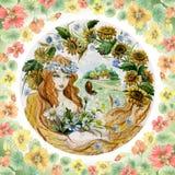 Mujer joven hermosa en una guirnalda con el manojo de flores contra libre illustration