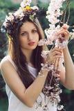 Mujer joven hermosa entre las flores de la cereza Imágenes de archivo libres de regalías