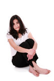 Mujer joven hermosa o relajación adolescente en suelo Fotografía de archivo