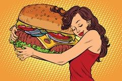 Mujer joven hermosa que abraza la hamburguesa stock de ilustración