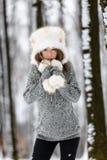 Mujer joven hermosa que disfruta de invierno Fotografía de archivo