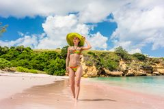 Mujer joven hermosa que mira lejos en una playa idílica soleada foto de archivo