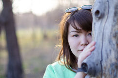 Mujer joven hermosa que oculta detrás de un árbol Imagen de archivo