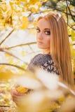 Mujer joven hermosa que presenta en un bosque del otoño Imagen de archivo