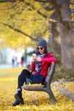 Mujer joven hermosa que se sienta en un banco y que usa su teléfono móvil en otoño Fotos de archivo libres de regalías