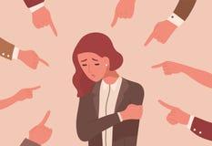 Mujer joven infeliz rodeada por las manos con los dedos índices que señalan en ella Concepto de víctima que culpa, público stock de ilustración