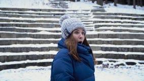 Mujer joven juguetona que ríe y que juega bolas de nieve en parque en invierno Diversión y juegos del invierno Pasatiempo de la d imagen de archivo libre de regalías