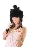 Mujer joven linda en sombrero de piel del invierno Fotografía de archivo libre de regalías
