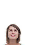 Mujer joven linda que mira para arriba Foto de archivo