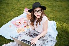 Mujer joven linda sorprendida que usa el ordenador portátil en comida campestre Imagen de archivo