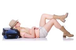 Mujer joven lista para las vacaciones de verano Imagen de archivo