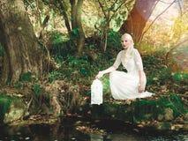 Mujer joven magnífica en blanco con un birdcage fotografía de archivo libre de regalías