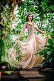 Mujer joven magnífica en vestido de noche largo Foto de archivo