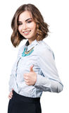 Mujer joven magnífica que muestra los pulgares para arriba Imagen de archivo libre de regalías