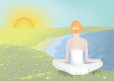Mujer joven meditating ilustración del vector
