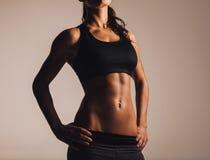 Mujer joven muscular en ropa de deportes Imagen de archivo libre de regalías