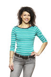 Sonrisa ocasional vestida de la mujer joven foto de archivo libre de regalías