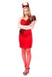 Mujer joven ofendida en un traje del diablo Imagen de archivo