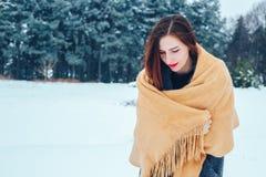 Mujer joven pelirroja con una bufanda roja en un bosque del invierno Foto de archivo