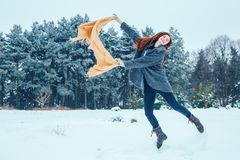 Mujer joven pelirroja con una bufanda roja en un bosque del invierno Imágenes de archivo libres de regalías
