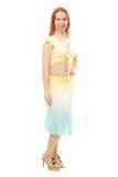 Mujer joven pelirroja de la danza de vientre imagenes de archivo
