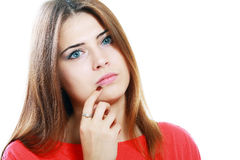 Mujer joven pensativa Imagen de archivo