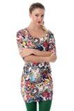 Mujer joven pensativa que lleva a Mini Dress apretado corto Imagen de archivo