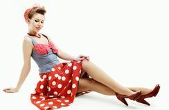 Mujer joven Pin-para arriba en estilo del americano del vintage fotografía de archivo libre de regalías