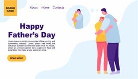 Mujer joven que abraza a su padre afuera D?a del `s del padre Plantilla de aterrizaje de la p?gina de la familia dise?o de la p?g fotos de archivo libres de regalías