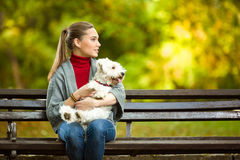 Mujer joven que abraza un perro maltés Fotografía de archivo