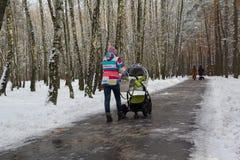 Mujer joven que camina con el cochecito de bebé en parque fotografía de archivo