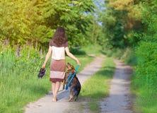 Mujer joven que camina con el perro fotos de archivo