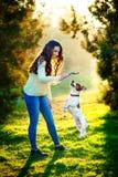 Mujer joven que camina con un perro que juega el entrenamiento, perro de salto Terrier de Gato Russell foto de archivo libre de regalías