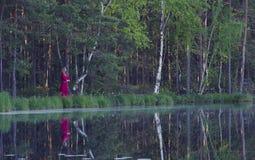 Mujer joven que camina en el bosque cerca del lago Foto de archivo libre de regalías