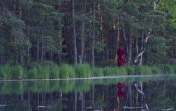 Mujer joven que camina en el bosque cerca del lago Fotos de archivo libres de regalías