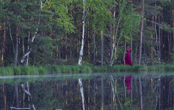 Mujer joven que camina en el bosque cerca del lago Foto de archivo