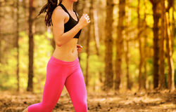 Mujer joven que corre en el rastro en el pino salvaje hermoso Forest Active Lifestyle Concept Espacio para el texto imagenes de archivo
