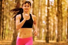 Mujer joven que corre en el rastro en el pino salvaje hermoso Forest Active Lifestyle Concept Espacio para el texto foto de archivo libre de regalías