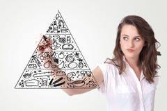 Mujer joven que drena una pirámide de alimento en whiteboard Imágenes de archivo libres de regalías