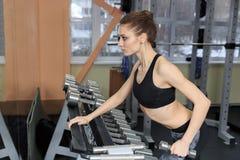 Mujer joven que ejercita detrás con pesas de gimnasia en el gimnasio y que dobla los músculos - modelo atlético muscular de la ap fotografía de archivo