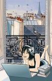 Mujer joven que entretiene con el ordenador en París stock de ilustración