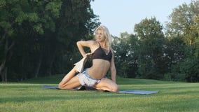 Mujer joven que estira en parque soleado Muchacha de la aptitud que entrena al aire libre en el paisaje de la naturaleza Elaborac almacen de metraje de vídeo