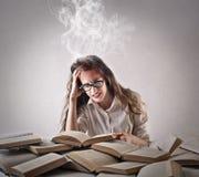 Mujer joven que estudia difícilmente Foto de archivo libre de regalías